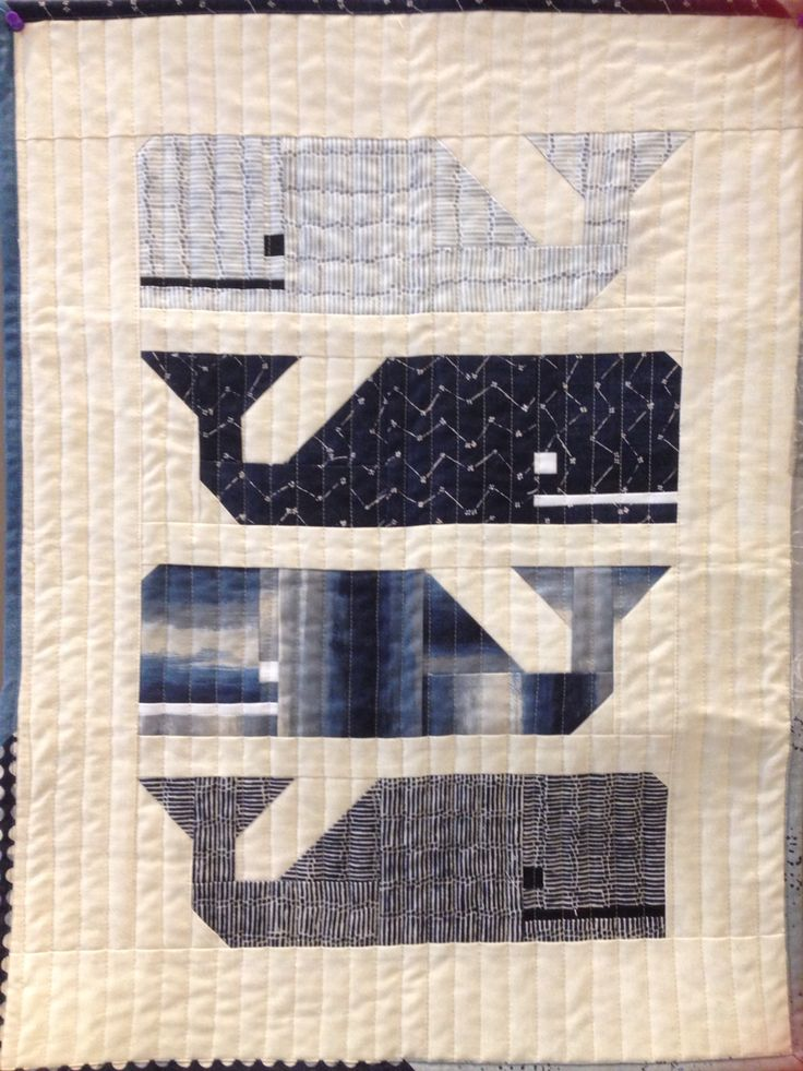 """Mini """"Preppy the Whale"""" pattern using Nocturne fabric"""