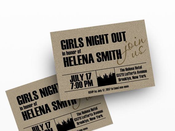 Girls Night Out Invitations   Digital Printable Invitation for your Hens Night Party, Bridal Shower, Bacheloretty Party