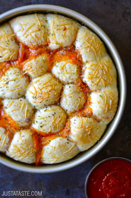 Cheese and Pepperoni Pizza Bites #recipe justataste.com