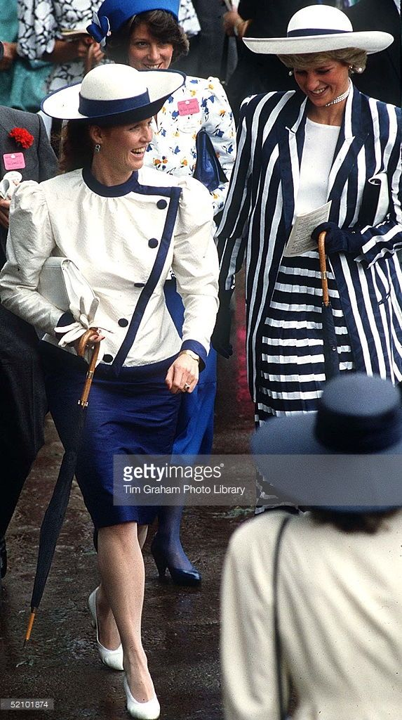 Princess Diana And Sarah Duchess Of York Walking Together At Royal Ascot They Are Both Carrying...