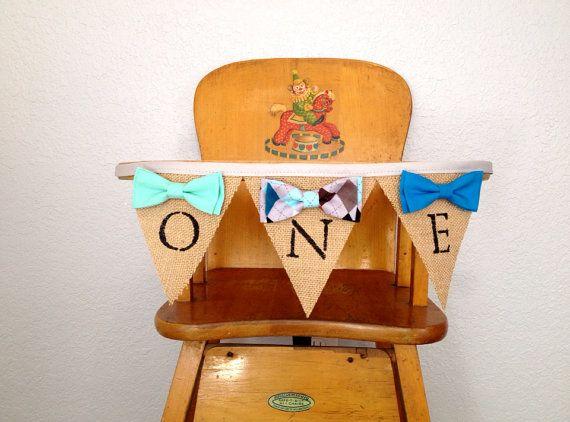 Boy 1st birthday high chair banner. Boys bow by LovelyLittleBabies