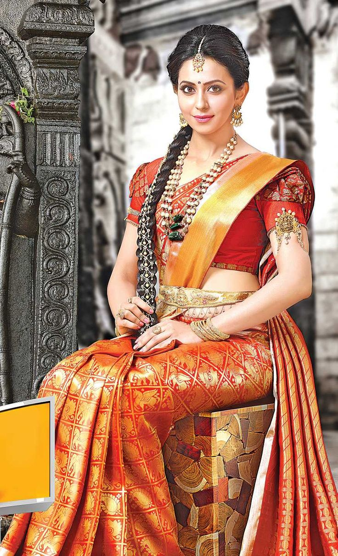 Rakul Preet Singh brucelee movie new stills in Red Saree Pics Gallery