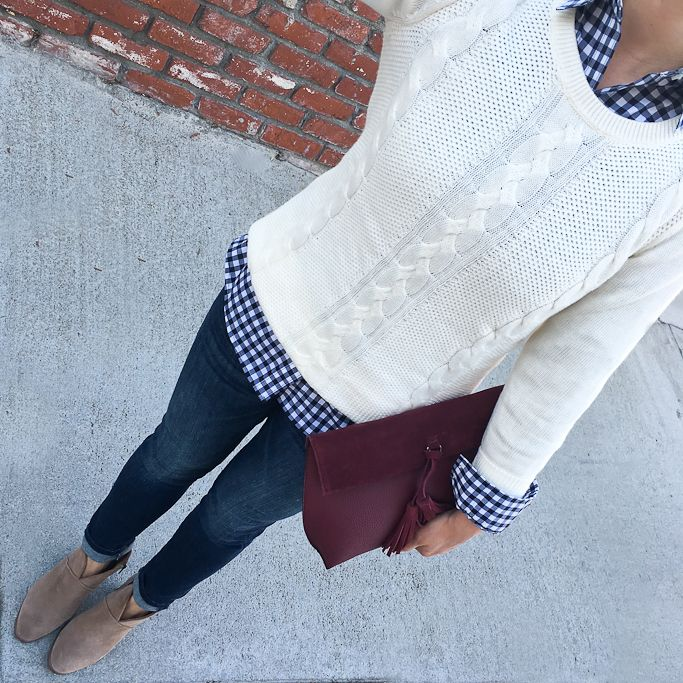 Petite Gingham shirt petite skinny ankle jeans, Burgundy Crossbody, Classic Crewneck Sweater, Vince Camuto Franell western booties - fall fashion, petite casual outfits, casual clothes - click the photo for outfit details!