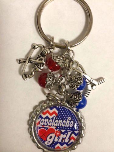 Colorado Avalanche Inspired Bottle Cap Keychain Handmade Avalanche Key chain