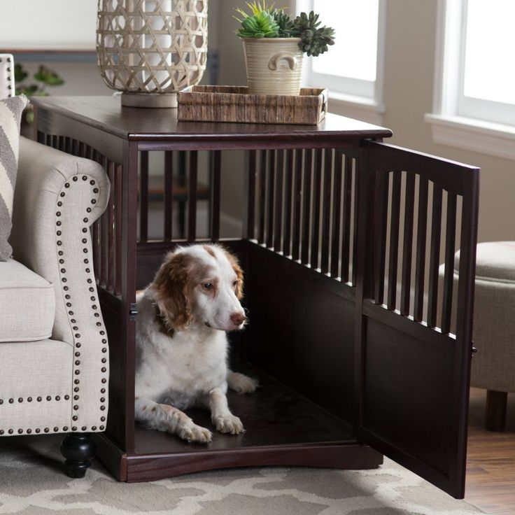 Newport Pet Crate End Table - Well-ventilated for maximum comfort, this Newport Pet Crate End Table  is a deluxe in design and perfect for medium-sized dogs. The end table dog...