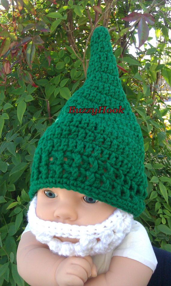 Crocheted Baby Beard Gnome Hat 6 to 12 Months Ready by BuzzyHook, $22.00