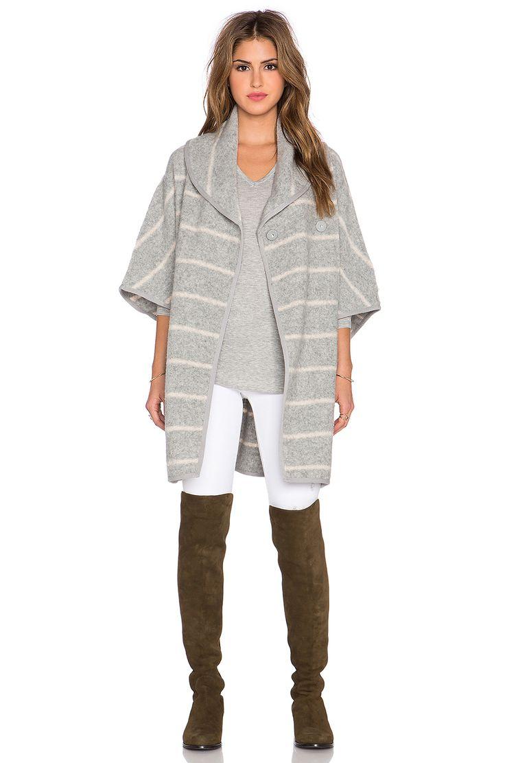 Free People Blanket Poncho Coat in Grey & Oatmeal Combo