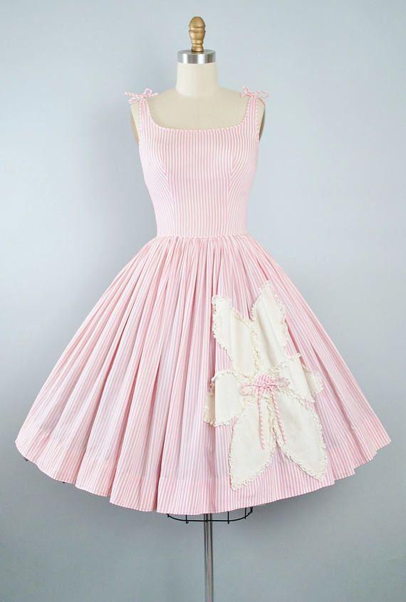 Vintage 50s Dress / 1950s Candy Jones Cotton Sundress Oversize