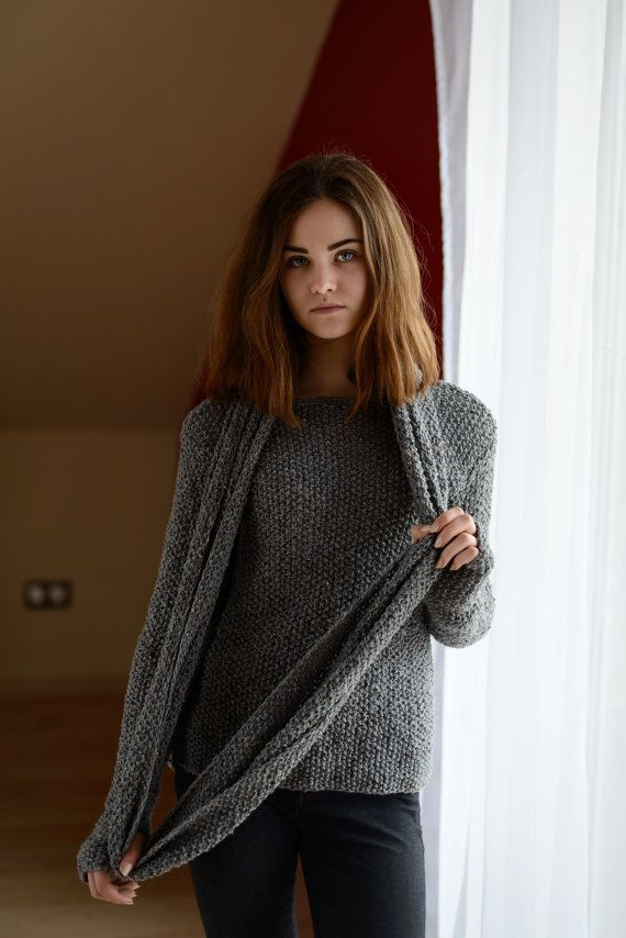 Gray sweater and gray shawl  Long sleeves  Women's pullovers  Hand knit sweater   Universal sweater  Winter knitwear  Ready to ship