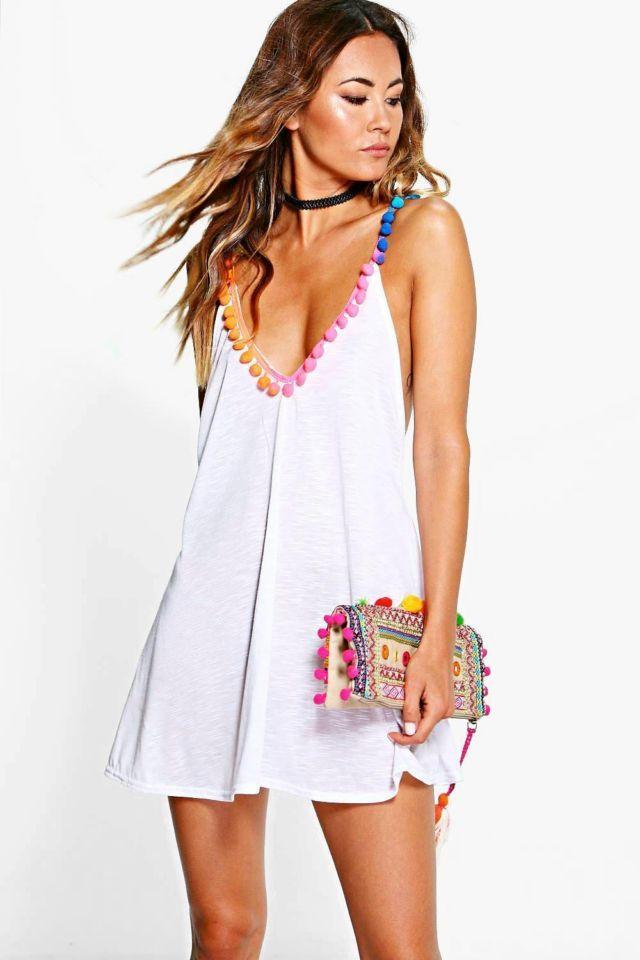 Multi Coloured Pom Pom Beach Dress - white  Fromboohoo.com  £15