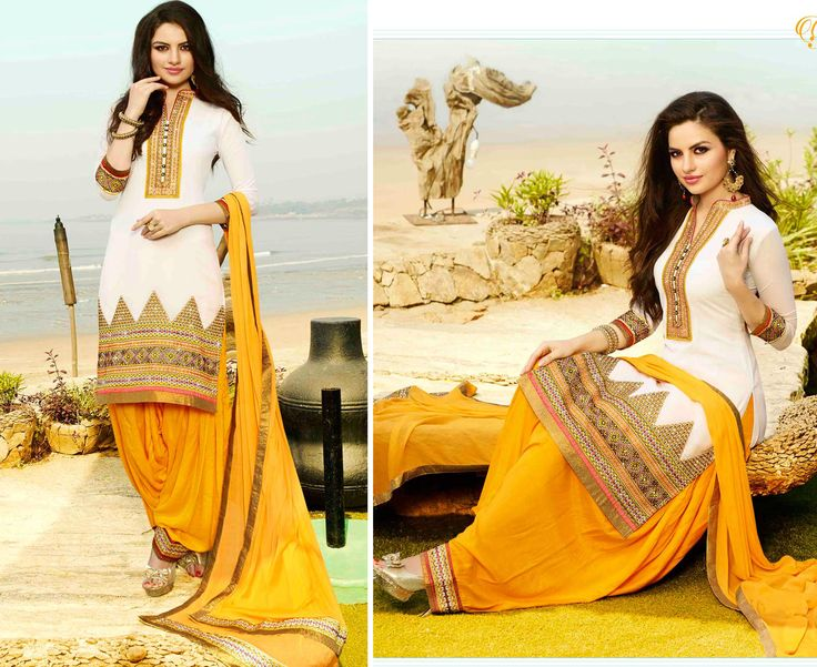 White & Yellow Georgette Punjabi Suit with Zari & Resham Embroidery, Stone Work and Lace Border