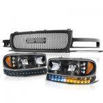 GMC Yukon 2000-2006 Black Custom Grille and Headlights LED DRL Bumper Lights