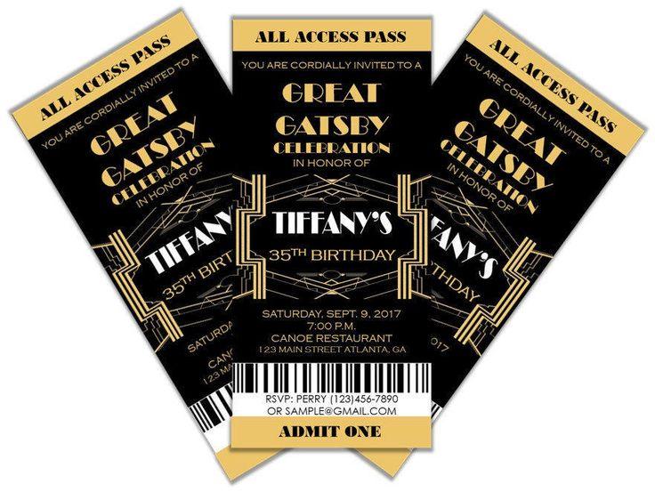 Great Gatsby Invitation- Prom Ticket- Party Invitation- Any Occasion by PinkDazzlePrints on Etsy