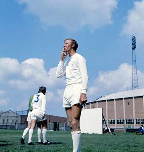 August 1970  Jack Charlton smoking a cigarette in training for Leeds United