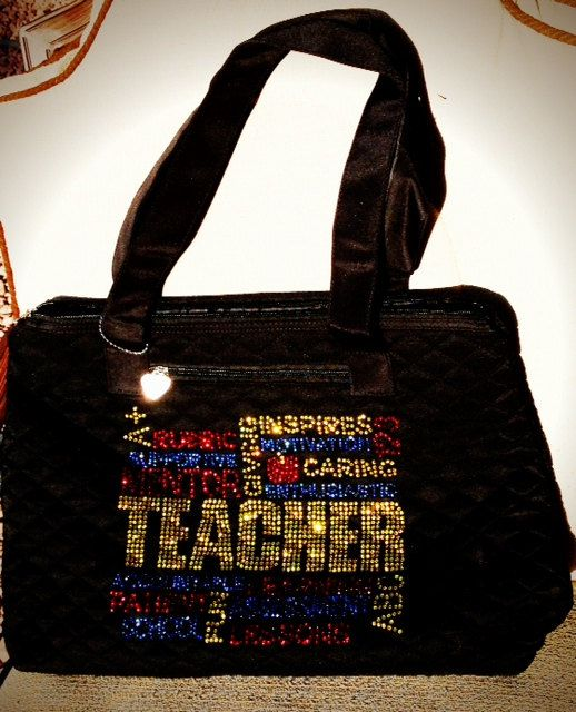 Rhinestone Bling Teacher Tote Bag Custom Team School by BlingNInk, $45.00  GREAT TEACHER back to school GIFT!