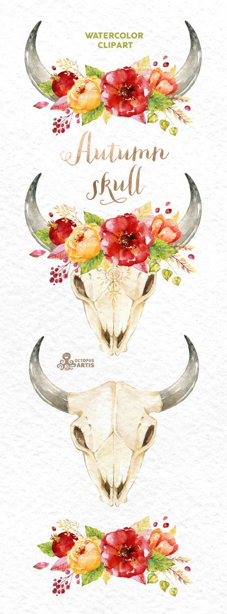 Autumn Skull. Watercolor skulls with antlers and flowers, hand painted, peonies…