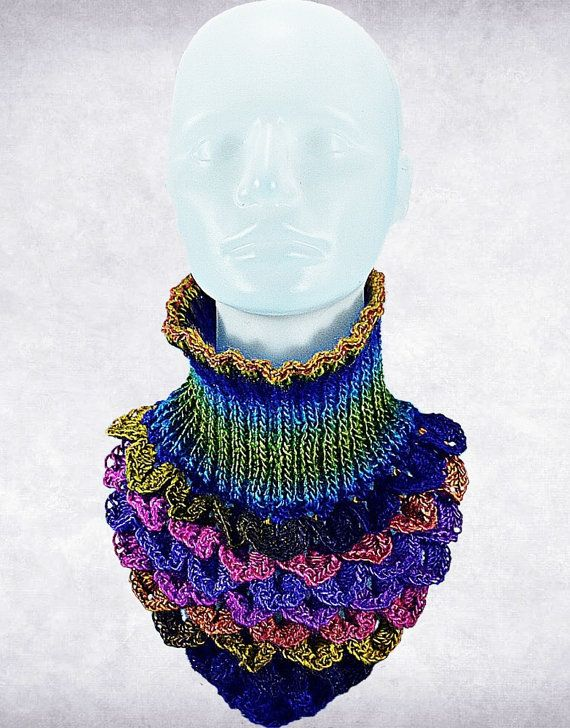 Rainbow Crocodile Stitch, Neck Warmer, Triangle Collarette -Harlequin Complementary accessory