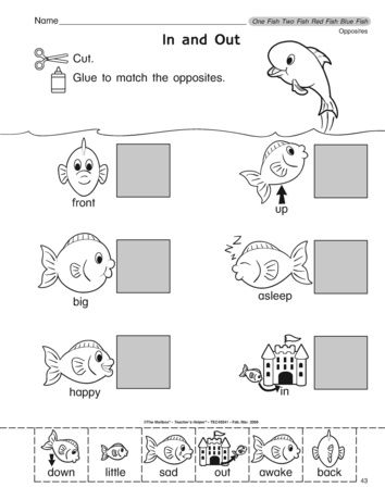 Add this worksheet that reinforces opposites to your collection of Dr. Seuss resources. A fun follow up to One Fish, Two Fish, Red Fish, Blue Fish.