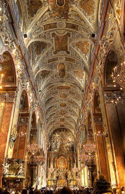 The main nave of the basilica at Jasna Góra Monastery in Częstochowa, Poland