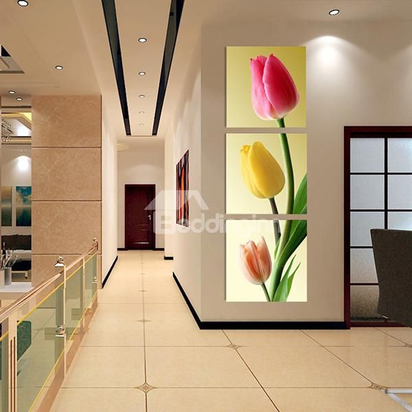 Modern 3-Color Tulip 3-Panel Frameless Wall Art Prints