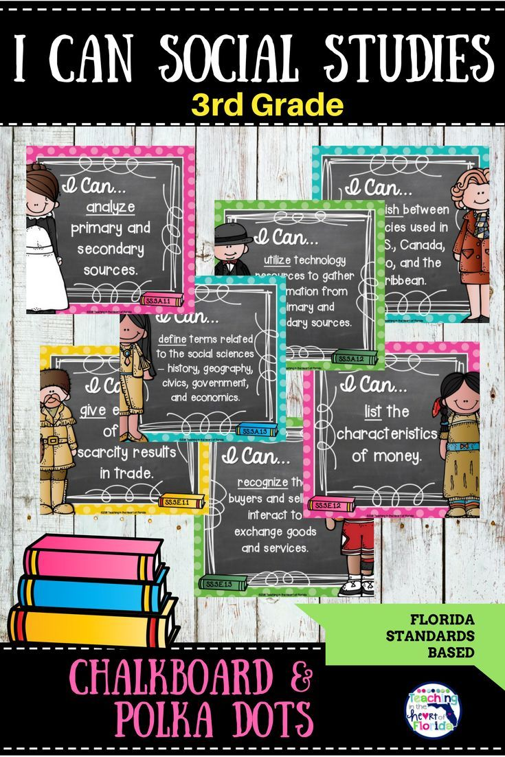 Chalkboard and Polka Dot I Can Social Studies Statements for the  Florida Standards are quick and easy! Student friendly and easy to prep - goes with any classroom decor! Display individually or on a bulletin board. Verbs are underlined to help students understand the extent of the standard. Click here to see more!