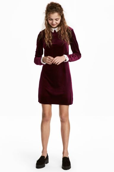 Velour dress with sparkles - Burgundy - Ladies | H&M GB 1