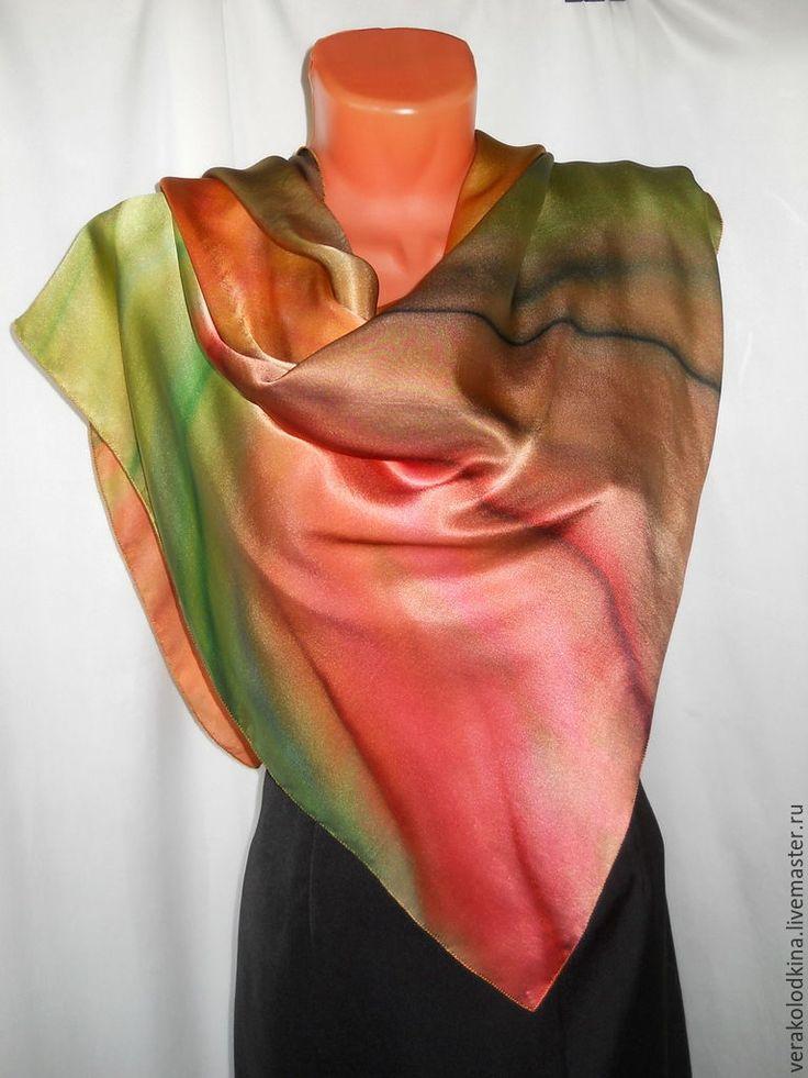"""Купить Платок шёлковый """"Путешествие в Италию"""" - рыжий, в полоску, купить платок, платок шелковый"""