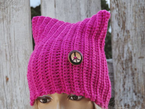 Pussyhats  Beanie Hat PINK  Beanie Cat hat women's marchWomen's Knitted pink cat hat Outer wear Cute Outside Warm Adult Teen Comfortable