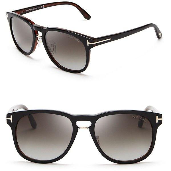 Tom Ford Franklin Wayfarer Sunglasses (€335) ❤ liked on Polyvore featuring men's fashion, men's accessories, men's eyewear, men's sunglasses, mens wayfarer sunglasses, mens brown sunglasses and tom ford mens sunglasses