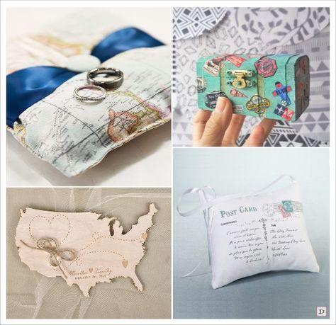 mariage voyage coussin alliances carte postale carte geographique coffre en bois