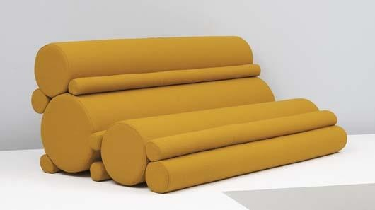 "JULIAN OPIE ""Tube Station"" sofa, 1999  Tubular foam, fabric. 33 7/8 x 77 5/8 x 46 3/8 in. (86 x 197.2 x 117.8 cm) Produced and retailed by SCP Furniture, UK. One tube with metal label ""Please Touch/Manufactured by Projects / SCP Ltd/Julian Opie/Tube Station/Edition no: 1 / 10."""