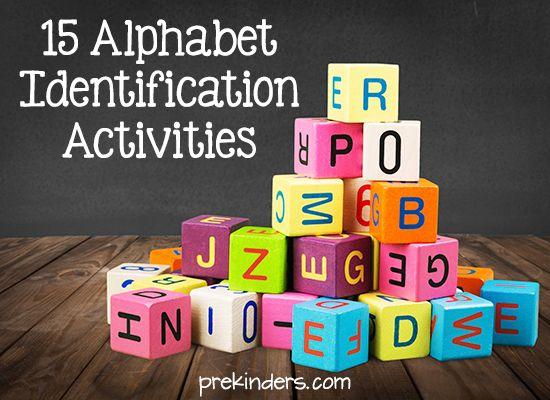 Here are 15 fun, active, hands-on alphabet letter identification activities for Pre-K, Preschool, and Kindergarten.
