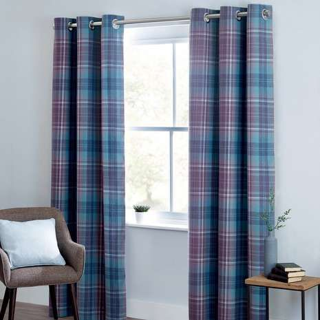 Mauve Norfolk Check Woven Eyelet Curtains | Dunelm