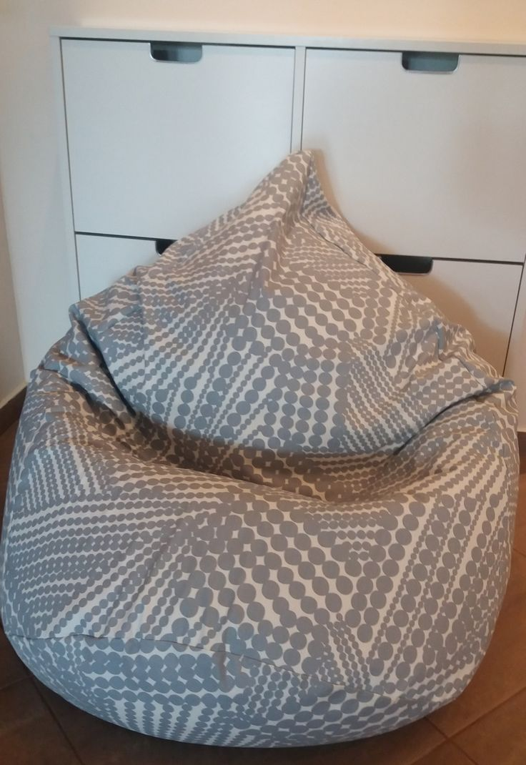 "Cotton bean bag chair ""Grey"" with polka dots."