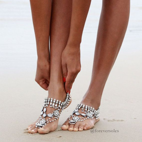 Ladies Silver Ancient Dance Barefoot Sandals. Sold by ForeverSoles