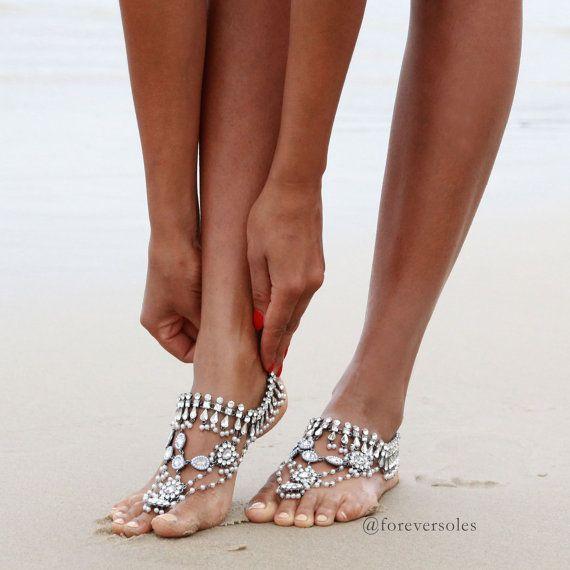 ARGENTO sandali a piedi nudi caviglia gioielli di ForeverSoles