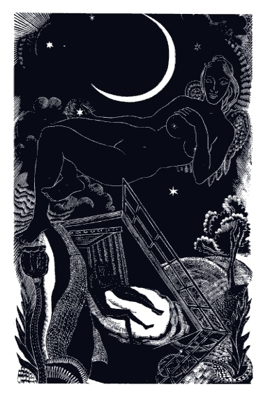 Wood Engraving (Illustration for Thalamos) by @Lettice Sandford, 1932.