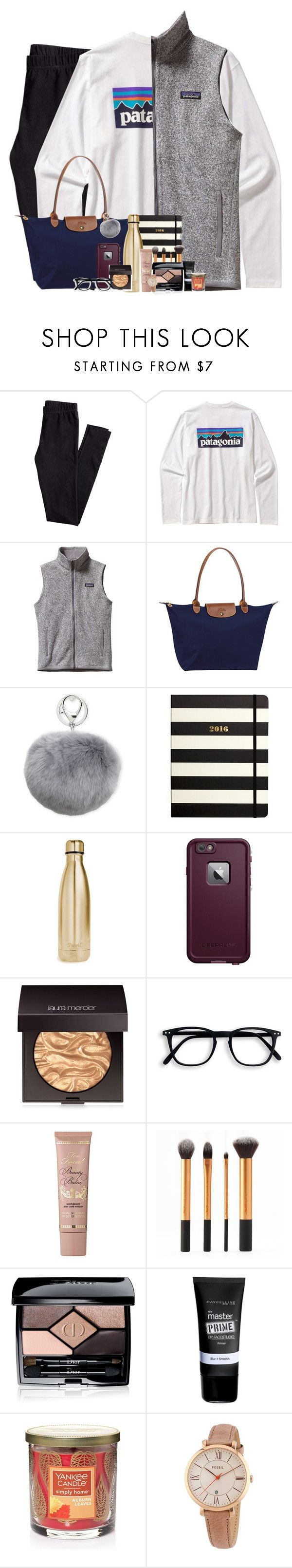 """Rtd for new contest!!!!!!"" by simplesouthernlife01 ❤ liked on Polyvore featuring H&M, Patagonia, Longchamp, Adrienne Landau, Kate Spade, S'well, LifeProof, Laura Mercier, Too Faced Cosmetics and Christian Dior"
