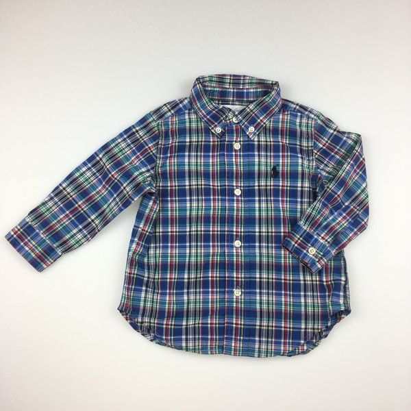 Ralph Lauren, baby boy's long sleeved, checked, cotton shirt, excellent pre-loved condition (EUC), size 12 months, $24 #babyfashion #boysfashion #ralphlauren #shirts #daisychainclothing #preloved