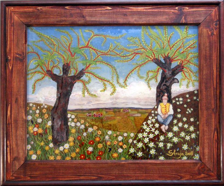 """Time for rest. Painting on glass made by Strahinja Novovic """"Straja"""". Living in Sweden."""