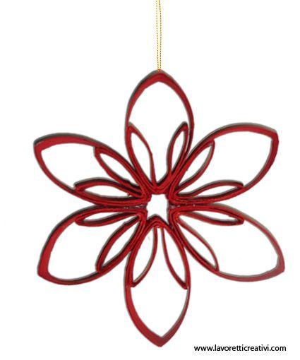 Una stella da realizzare nel periodo natalizio con il materiale di riciclo. La decorazione legata con un filo di nylon può essere appesa alle finestre o al