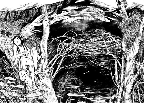 Totoro Forest : Jillian TamakiWhite Illustration, Ink Master, Inspiration, Jillian Tamaki, Art 2D, Tamaki Illustration, Totoroforest, Totoro Forests, Drawing