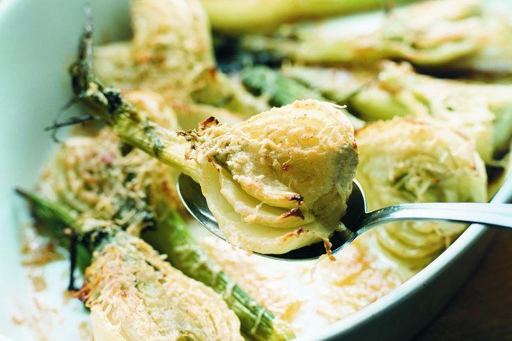 Gratinerad fänkål i ugn med parmesan och citron - Finocchio al forno.