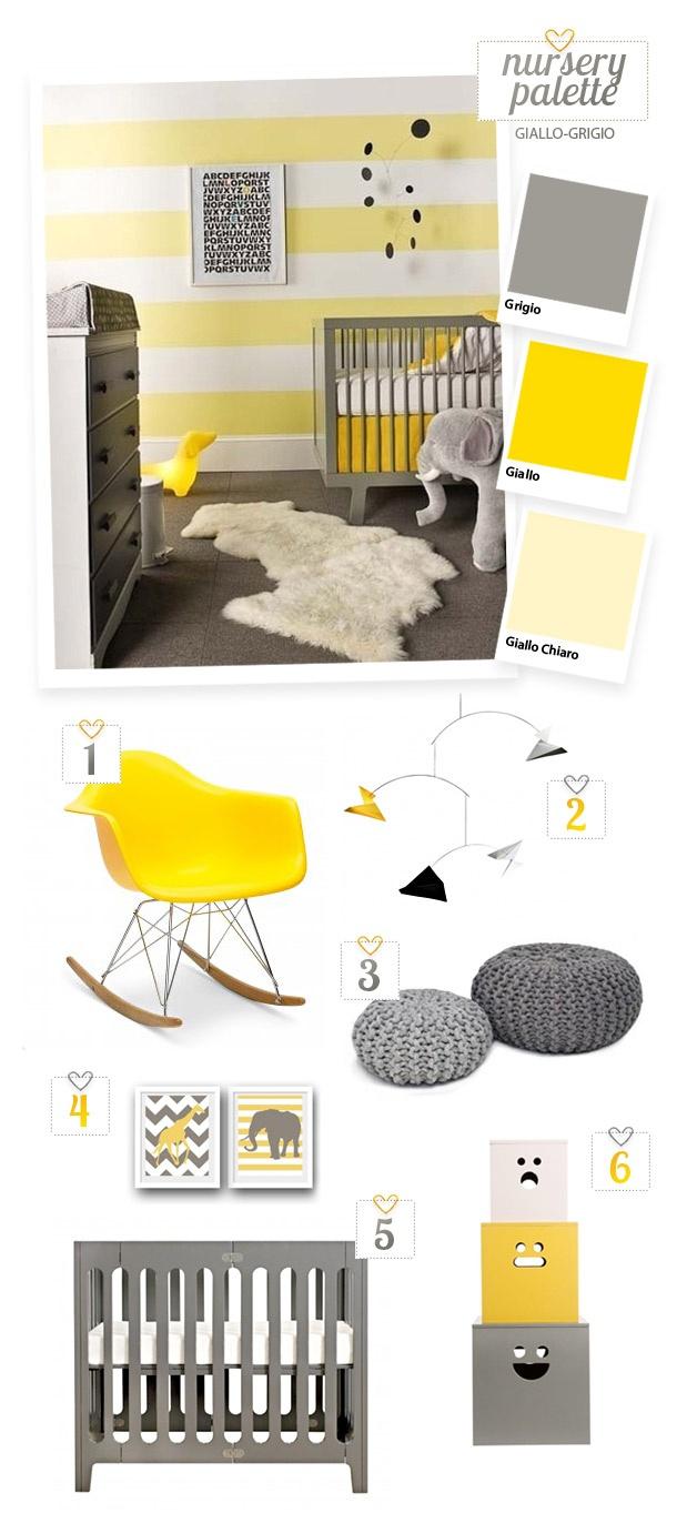 Nursery gialla e grigia, ispirazioni per palette colori da camerette