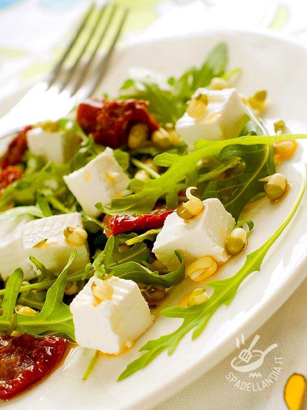 Se non avete molto tempo per stare ai fornelli e cercate un piatto nutriente e ricco di vitamine provate l'Insalata di caprino, germogli e pomodori secchi!