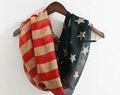 On Sale Vintage American Flag Infinity Scarf Soft and Large American Flag Scarf July 4th Scarf Lovely Flag Scarf
