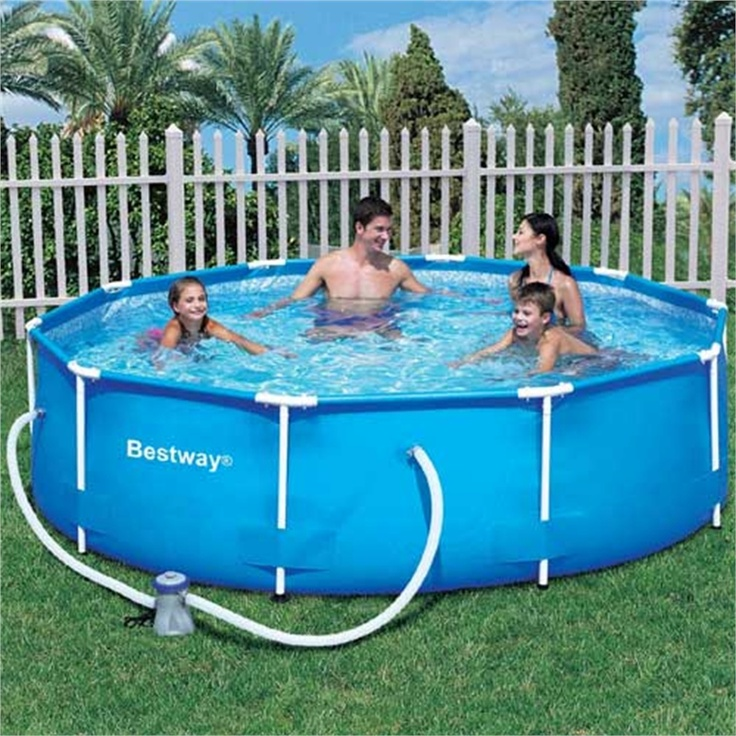 Bestway 10 ft steel pro frame pool with 330 gal pump garden paddling pools pinterest - Steel frame pool ...
