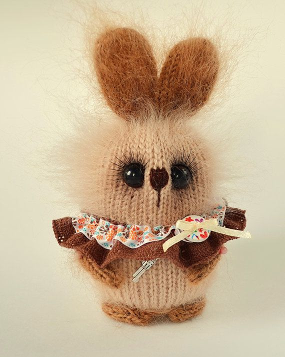 Brown bunny doll Easter bunny knitted rabbit hand knit bunny