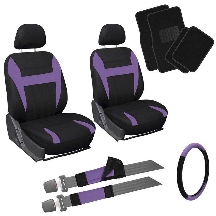 Cool Amazing 13pc Front Bucket Truck Seat Covers Purple Black Wheel Belt Head Floor Mats 2E 2017/2018 Check more at https://auto24.ga/blog/amazing-13pc-front-bucket-truck-seat-covers-purple-black-wheel-belt-head-floor-mats-2e-20172018/