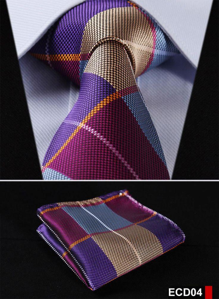 "Check Blue Silver Stripe 3.4"" 100%Silk Wedding Jacquard Woven Men Tie Necktie Pocket Square Handkerchief Set Suit ECD"